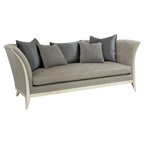 Pasha Modern Classic Curvaceous Exposed Frame Silver Leaf Grey Upholstered  Sofa