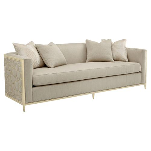 Shatter Modern Classic Beige Upholstered Gold Metal Wrapped Bench Cushion Sofa | Kathy Kuo Home
