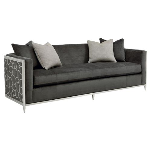 Shatter Modern Classic Upholstered Silver Metal Wrapped Bench Cushion Sofa | Kathy Kuo Home