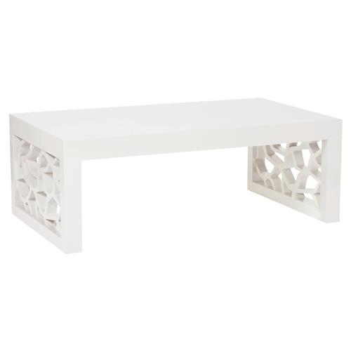 Kataryna Dmoch Branch Modern Classic Wood Snow White Rectangular Coffee Table | Kathy Kuo Home