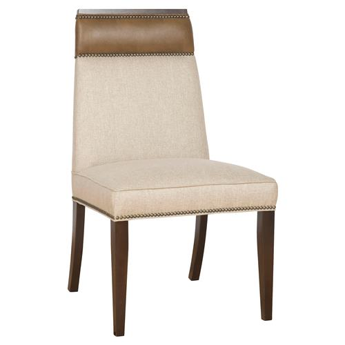 Michael Weiss Phelps Modern Wood Linen Upholstered Nailhead Dining Side Chair | Kathy Kuo Home