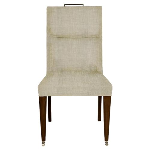 Thom Filicia Brattle Modern Natural Upholstered Wood Caster Dining Side Chair | Kathy Kuo Home