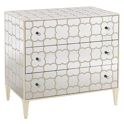 Desiree Modern Classic Cream Painted Mirrored 3 Drawer Dresser | Kathy Kuo Home