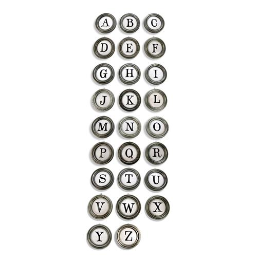 Vintage Typewriter Keys A to Z Metal Letter Wall Decor | Kathy Kuo Home