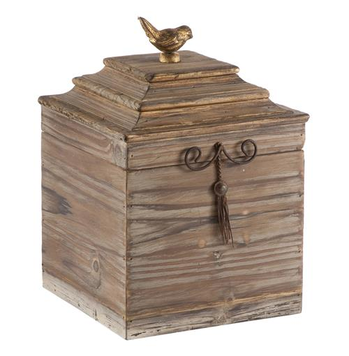 Pair Voler Natural Rustic Tall Wood Box with Gold Accent Bird | Kathy Kuo Home