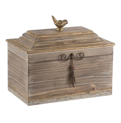 Pair Voler Natural Rustic Wide Wood Box with Gold Accent Bird | Kathy Kuo Home