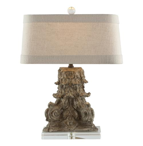 Pair French Country Architectural Fragment Metallic Brown Lamp | Kathy Kuo Home