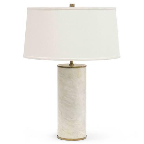Palecek Delphine Modern Classic Alabaster Stone Cylindrical Table Lamp | Kathy Kuo Home