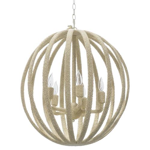 Palecek Madera Coastal Beach White Coco Beaded Round Chandelier | Kathy Kuo Home