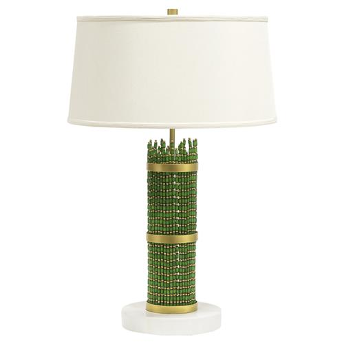 Palecek Sadie Emerald Green Beaded White Stone Table Lamp | Kathy Kuo Home