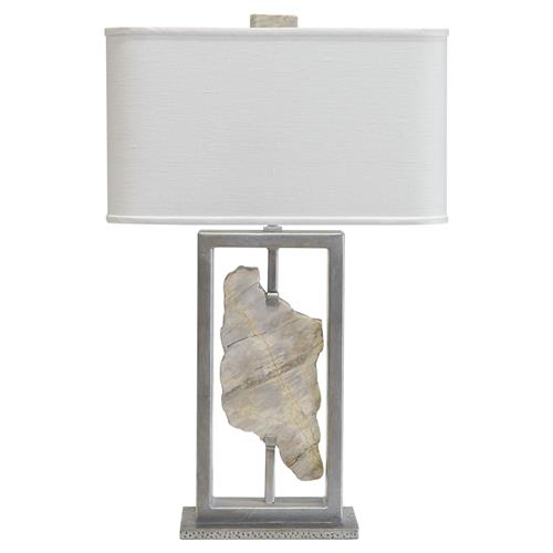 Palecek Soloman Modern Classic Marble Metal White Linen Shade Table Lamp | Kathy Kuo Home