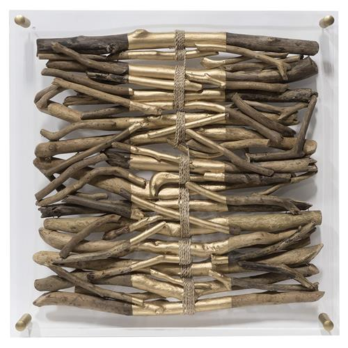 Palecek Acrylic Coastal Driftwood Gold Striped Square Wall Sculpture | Kathy Kuo Home