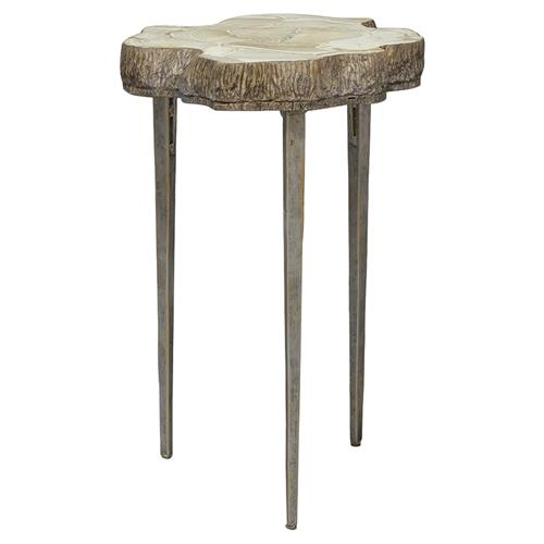Palecek Chloe Rustic Inlaid Clam Shell Top Live Edge Side End Table | Kathy Kuo Home