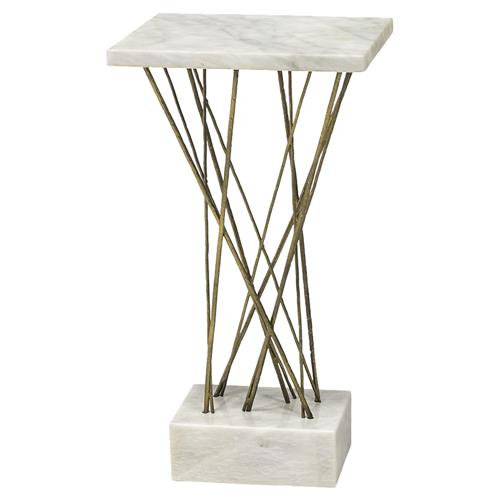 Palecek Odelia Modern Classic Solid Alabaster Stone Square Side End Table | Kathy Kuo Home