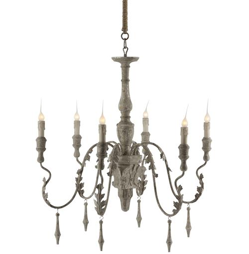 Charlemagne French Country Grey Wash 6 Light Chandelier | Kathy Kuo Home