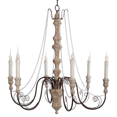 Monceau Crystal Swag French Country Large 6 Light Chandelier | Kathy Kuo Home