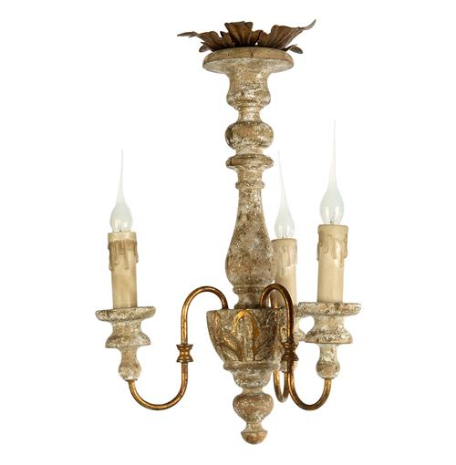 Turin Country Rustic 3 Light Distressed White Mini Chandelier | Kathy Kuo Home