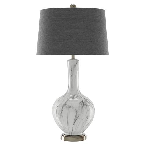 Breckin Modern Classic Faux Marble White Ceramic Grey Shade Table Lamp | Kathy Kuo Home