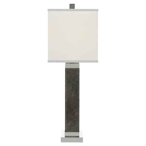 Kamen Modern Classic Grey Silver Diamond Hair-On-Hide Leather Table Lamp | Kathy Kuo Home