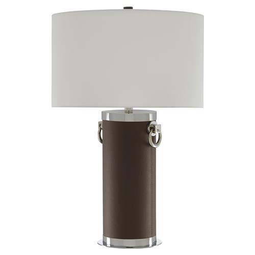 Lessans Modern Classic Brown Leather Silver Steel Column Table Lamp | Kathy Kuo Home