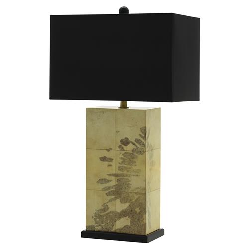 Haas Modern Classic Natural Vellum Black Splatter Print Rectangular Table Lamp | Kathy Kuo Home