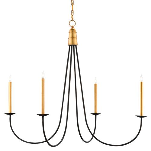 Ostrow Modern Classic Black Gold 4 Light Chandelier | Kathy Kuo Home