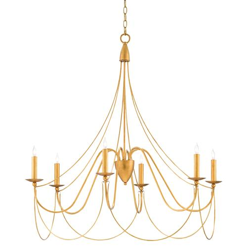 Philia Modern Regency Antique Gold 6 Light Candelabra Chandelier | Kathy Kuo Home