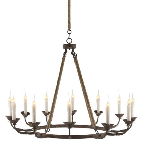 Consuelo Country Rustic Burlap Simple 12 Light Chandelier | Kathy Kuo Home