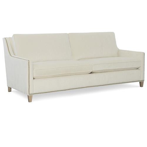 Modern Nailhead Sofa: CR Laine Jeremy Modern Classic Ecru Upholstered Nailhead