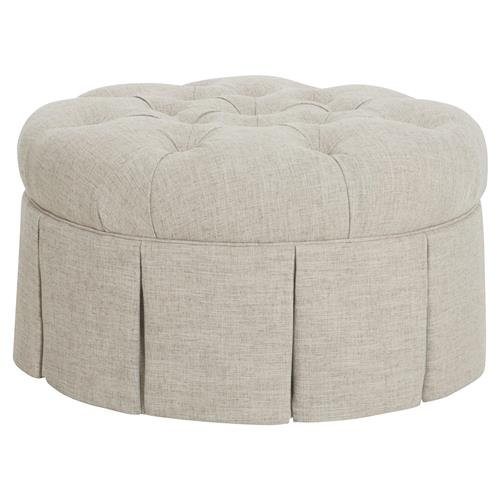 CR Laine Chateau Modern Classic Light Grey Linen Tufted Round Ottoman | Kathy Kuo Home