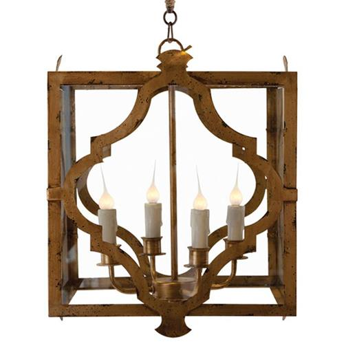 Estelle Antique Gold Open Cube Lantern Pendant Lamp | Kathy Kuo Home