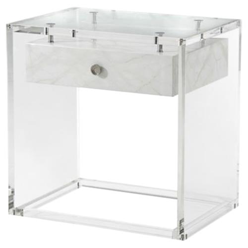 Theodore Alexander Generation Modern Faux Carrara Solid Acrylic Side End Table | Kathy Kuo Home