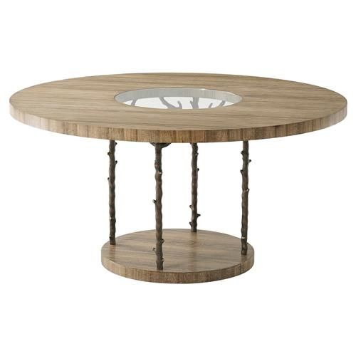Theodore Alexander Wynwood Global Cerused Tempered Glass Round Dining Table | Kathy Kuo Home
