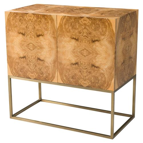 Theodore Alexander Symmetry Modern Olive Ash Burl Veneer Brass Cabinet | Kathy Kuo Home