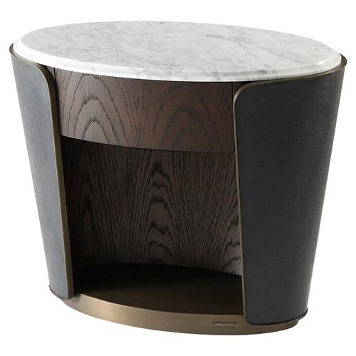 Theodore Alexander Amour White Marble Top Leather Wrapped Oval Nightstand | Kathy Kuo Home