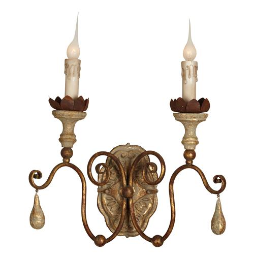 Tuscan French Caravelle Aged Gold Curl Arm Wall Sconce - Set of 2 | Kathy Kuo Home
