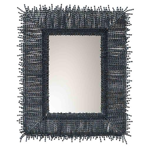 Palecek Amaya Global Bazaar Wood Beaded Wall Mirror | Kathy Kuo Home