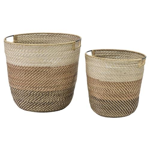 Palecek Bixby Coastal Beach Coil weave Rattan Basket - Set of 2 | Kathy Kuo Home