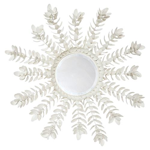 Palecek Coco Magnolia Global Bazaar Off-white Hand-Cut Coco Shell Mirror | Kathy Kuo Home