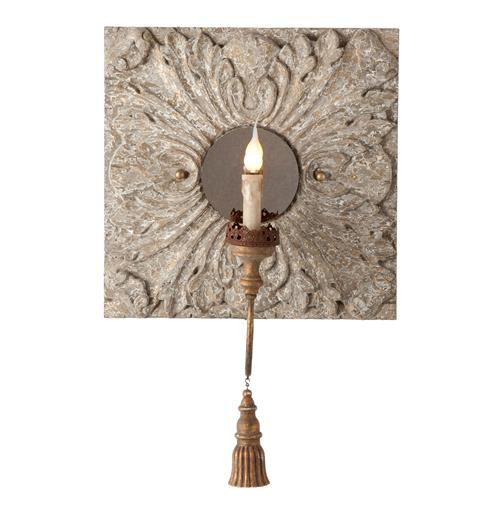 Pair Zottegem Hand Carved Iron Tassel Square Tile Wall Sconces | Kathy Kuo Home
