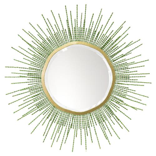 Palecek Sadie Coastal Beach Gold Metal Frame Beaded Green Mirror - 48D | Kathy Kuo Home