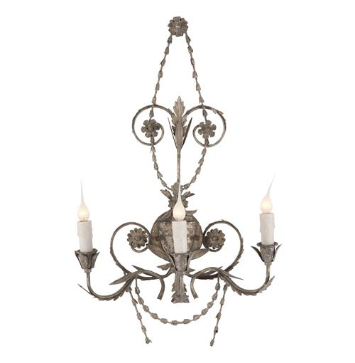 Pair Santa Maria Spanish Revival Antique Silver Wall Sconces | Kathy Kuo Home
