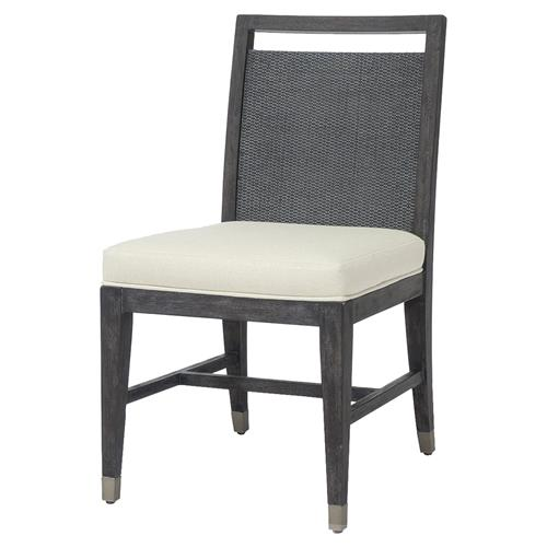 Palecek Augusto Coastal Beach Oyster Hopsack Upholstered Dining Side Chair | Kathy Kuo Home