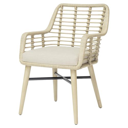Palecek Emery Coastal Beach Rattan Wrapped Upholstered Dining Arm Chair Kathy Kuo Home