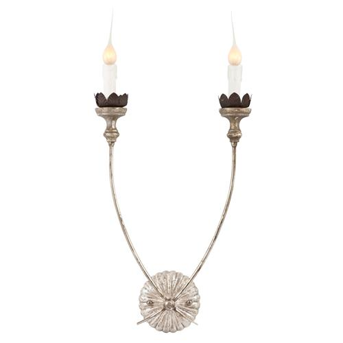Hass Antique Silver French Manor 2 Arm Wall Sconces - Pair | Kathy Kuo Home