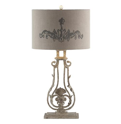 Pair Viottoria Lute Shade Base Iron French Manor Table Lamp | Kathy Kuo Home