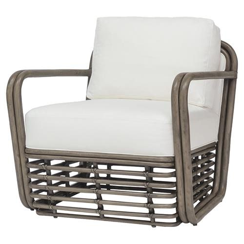 Palecek Pacifica Coastal Beach Rattan Frame Upholstered Lounge Chair | Kathy Kuo Home