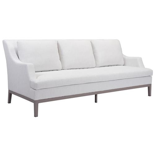 Eli Modern Classic White Upholstered Outdoor Sofa | Kathy Kuo Home