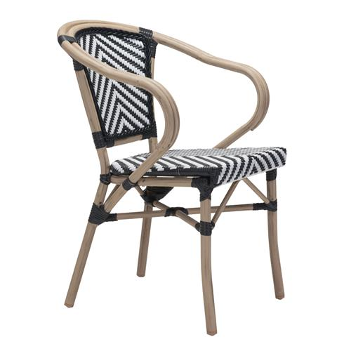 Francois French Country Faux Bamboo Black and White Outdoor Bistro Arm Chair | Kathy Kuo Home