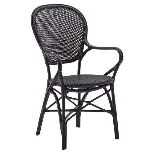 Lydia French Country Black Rattan Dining Arm Chair | Kathy Kuo Home